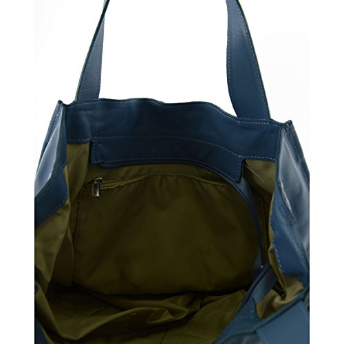Borsa Shopper In Vera Pelle Con Ciondolo In Pelle Colore Turchese - Pelletteria Toscana Made In Italy - Borsa Donna