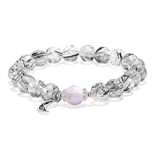 - Jia Weimei Genuine Natural Ice Black Quartz Rutilated Crystal Round Bead Bracelet 8mm Bracelets for Women Yoga Beaded Bracelet Elastic Stone Fashion Jewelry Gift