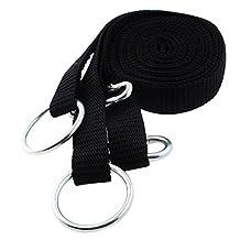 uxcell® Hammock Strap, 8ft, 2 Pcs Metal Ring, Carabiner Hook Black, Nylon, Hanging, Hammock Strap, Safety, Belt Band