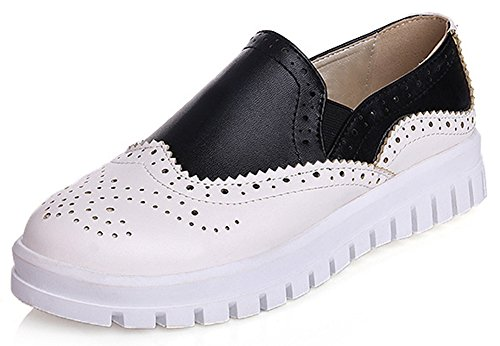 Idifu Womens Trendy Low Top Punta Tonda Pull On Low Cut Con Zeppa Bassa Moda Sneakers Bianche