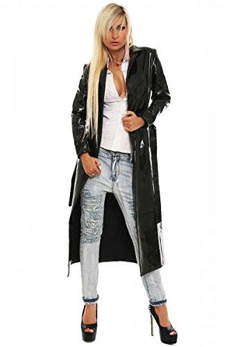 Barniz abrigo vinilo Calidad larga Abrigo botón Serie negro largo todos los tamaños