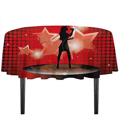 kangkaishi Popstar Party Waterproof Anti-Wrinkle no Pollution Young Singer Woman on Stage Performing with Star Figures Dotted Backdrop Table Cloth D51.18 Inch Red Coral Black
