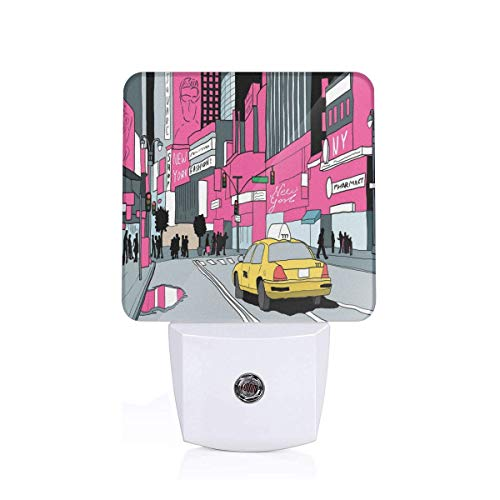 Colorful Plug in Night,View of Manhattan and A Taxi Cab at Times Square,Auto Sensor LED Dusk to Dawn Night Light Plug in Indoor for Childs -