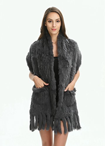 Ferand Women's Knitted Real Rabbit Fur Warm Shawl Scarf with Tassels for Winter, One size, Dark grey by Ferand (Image #2)
