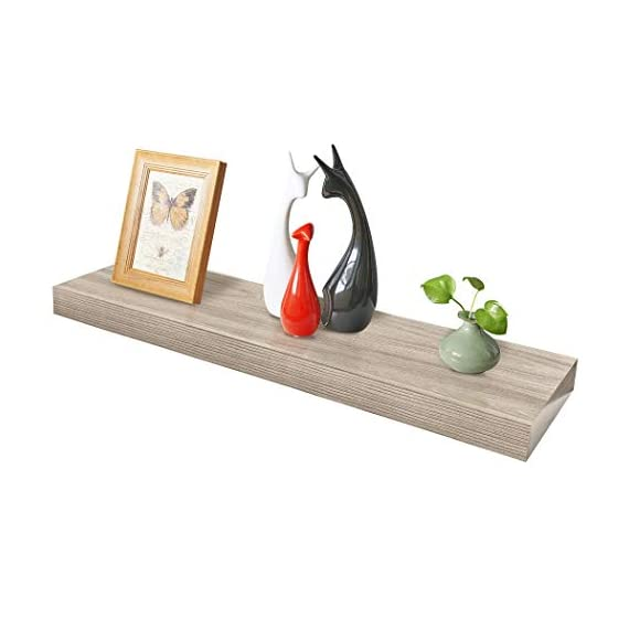 "Homewell Wood Floating Shelves for Home Decoration, 36""x9.25""x2"", Grey - Material: MDF, Size: 36"" (L) x 9.25"" (W) x 2"" (T), net weights: 5.67lbs Robust metal mounting bracket rod (diameter: 3/4"") and metal anchor can hold the shelf panel steady. No visible screw or support bracket, make the shelf appear to be floating. - wall-shelves, living-room-furniture, living-room - 419qXph 7GL. SS570  -"