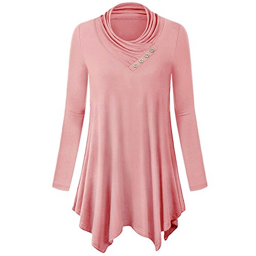 Mimfor Womens Long Sleeve Irregular Hem Tops Casual Flare Tunic Blouse Shirt (2XL, Pink) ()