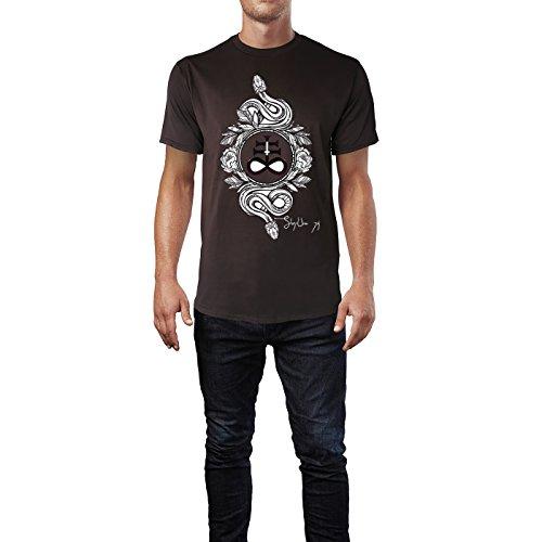 SINUS ART® Zwei Schlangen mit satanischem Kreuz Herren T-Shirts in Schokolade braun Fun Shirt mit tollen Aufdruck
