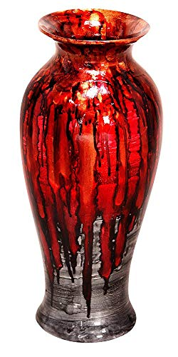 (Heather Ann Creations Bohemian Decorative Ceramic Vase Foiled and Lacquered With Porcelain and Water Resistant, 21.2