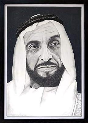 تسوق واليف وملصق حائط بتصميم الشيخ زايد القائد المؤس س أسود