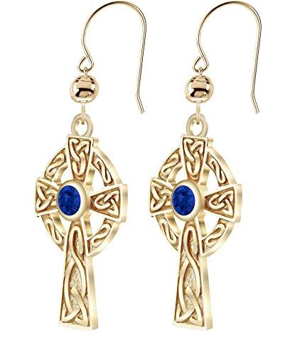 (US Jewels And Gems New 14K Yellow Gold Genuine Sapphire September Birthstone Irish Celtic Knot Cross Earrings)