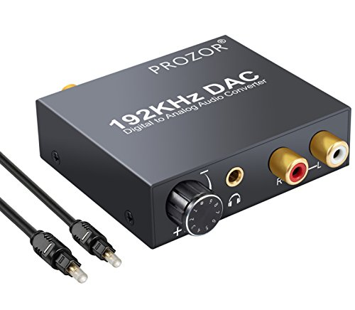 PROZOR Digital to Analog Converter 192kHz DAC Supports Volume control Digital Coaxial SPDIF Toslink to Analog Stereo L/R RCA 3.5mm Jack Audio Adapter for PS3 XBox HDDVD PS4 Home Cinema Systems AV Amps