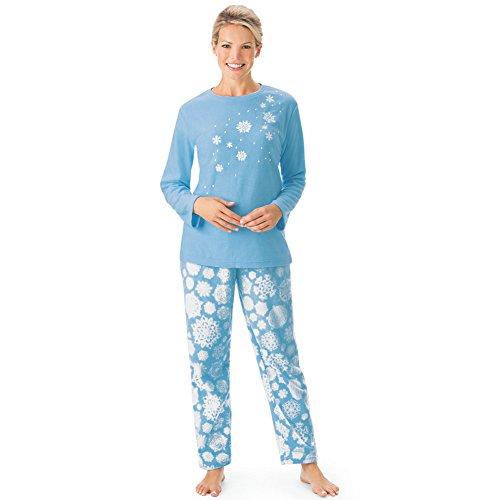 Women's Snowflake Tunic & Pant Fleece Christmas Pajama Set, Blue, Xx-Large