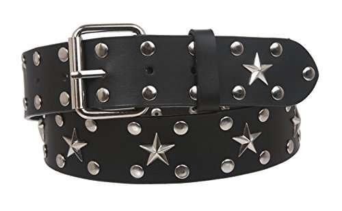Snap On Silver Star and Circle Studded Belt, Black | S/M - 32