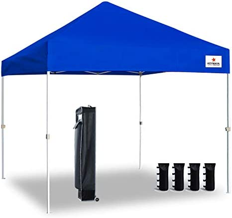 Keymaya 10×10 Ez Pop Up Canopy Tent Commercial Instant Shelter Canopies Bonus Heavy Duty Weight Bag 4-pc Pack