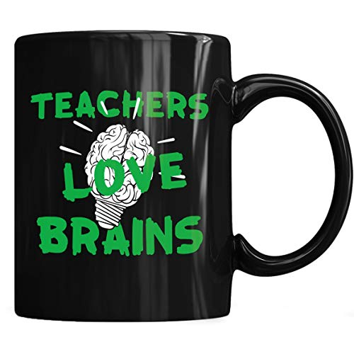 Teacher Love Brains Funny Halloween Mug - Funny Halloween Costumes Coffee Mug 11oz Gift Black Tea Cups ()