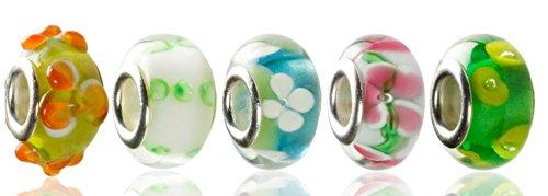 Hidden Gems - 5 x Drops Femme, Perle Verre, Plaqué Argent