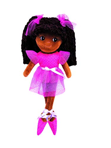 "girlzndollz 600577 Elana Multicolor Ballerina Doll- Dark Skin, 14"", Pink, Purple"
