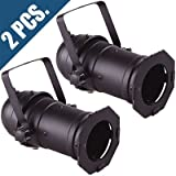 2x PAR 16 CAN Black for Stage Lighting w/ hanging bracket and A/C cord