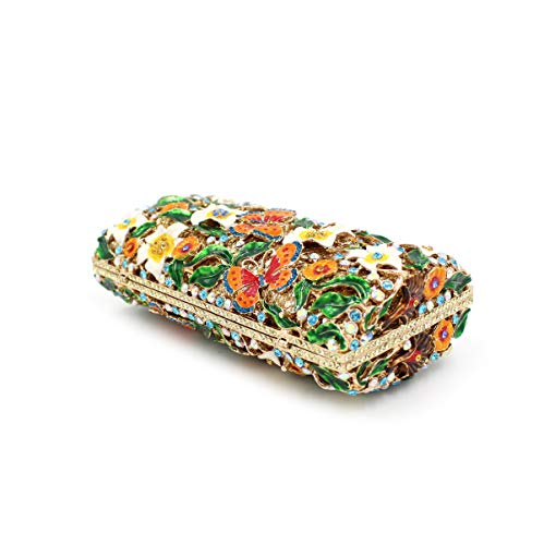 de fleur de strass métallique diamant sac A Sac de luxe creux sac dîner embrayage cristal papillon de de qxRcwf