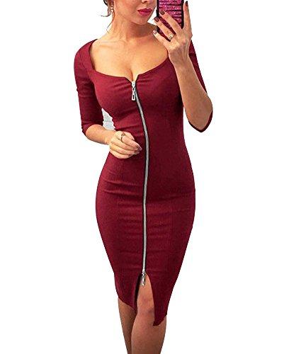 Rouge Bodycon Femme lasticit Robe Courtes De Zipper Cocktail Soire qwvwU