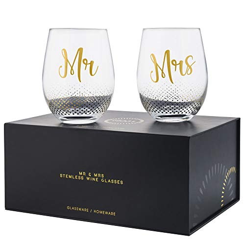 Mr & Mrs Gifts, set of 2 Crystal stemless wine glasses, with beautiful gift box, Perfect Engagement Gift, Wedding gift, Anniversary or Couples gift.
