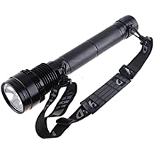 Black 85W 65W 45W 8500 Lumens HID Flashlight Xenon Torch Light Spotlight SOS Lamp Lantern + One 8700mAh Rechargeable Battery + an Extra lampshade + One Aluminium Box for Outdoor Hunting Camping Hiking