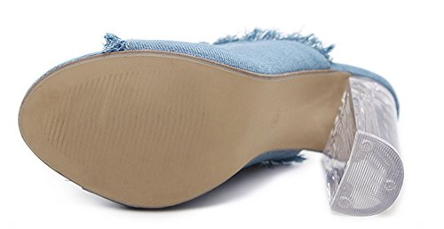 Talon Toile Transparent Aisun Ouvert Mules Jean Mode Femme Bleu Bout IPqgA