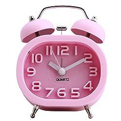 HENSE Creative Colorful Design Non-ticking Mute Silent Quartz Movement Twin Bell Alarm Clock With Nightlight HA16 (Pink)