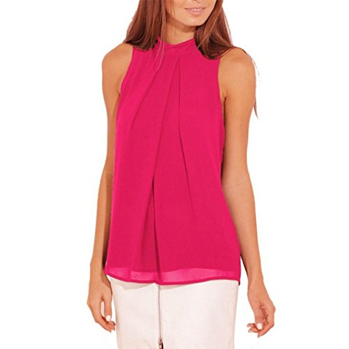 Sleeveless Turtleneck Chiffon Solid Vest T Shirt Loose Tank Top(Hot Pink,XXX-Large) ()