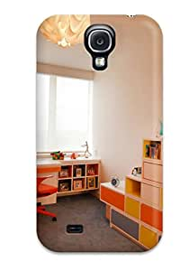 New Arrival Case Cover With NkwVmcz4374ANfkj Design For Galaxy S4- Orange And White Kids Room With Toy Storage