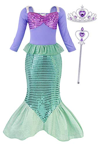 AmzBarley Girls Little Mermaid Costume for Fancy Party Performance Show Princess Ariel Dress up Clothes Kids Cosplay Outfit Dresses with Accessories Size 10]()