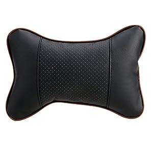 Leeko 2 Piezas Cojínes para el Cuellos de Almohada Cervical de Coche cojín Suave Jefe (Negro)