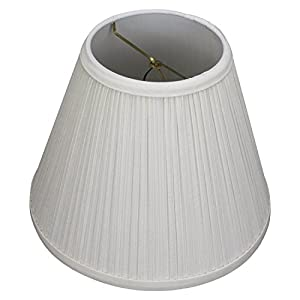 "FenchelShades.com Lampshade 5"" Top Diameter x 10"" Bottom Diameter x 8"" Slant Height with Clip-On Attachment for Standard Edison-Style Lightbulb (Pleated Cream)"