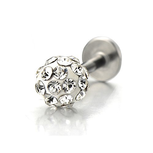 COOLSTEELANDBEYOND Steel Ball Lip Stud Ring with Rhinestones Piercing Labret Monroe Bar Chin Tragus Body Jewelry(White) ()