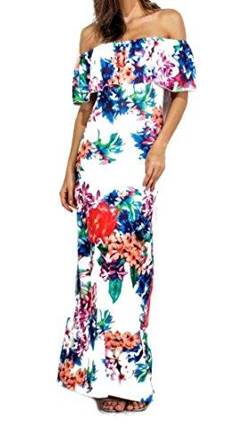 Jaycargogo Womens De L'épaule Sexy Robe De Soirée Floral Maxi Plage Club Imprimé 6