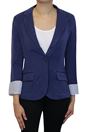Instar Mode Women's Cuffed Sleeve One Button Boyfriend Blazer Navy Blue S