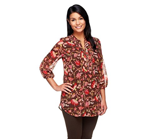 Liz Claiborne NY 3/4 Sleeves Floral Print Lined Tunic Chocolate XL New A254848 Liz Claiborne Woman Blouse