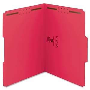 Smead Fastener File Folder, 2 Fasteners, Reinforced 1/3-Cut Tab, Letter Size, Red, 50 per Box (12740)