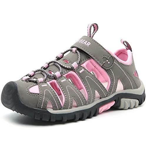HOBIBEAR Girls Outdoor Closed-Toe Summer Sport Sandals-Grey/Pink