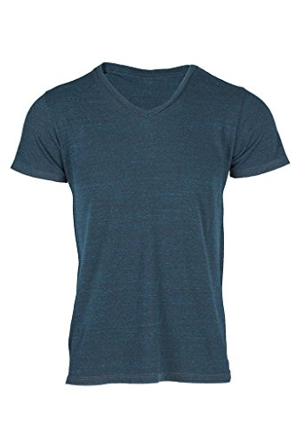 Topaz Sun Men's Tri-Blend Short Sleeve V-Neck T-Shirt Blue Emerald Small