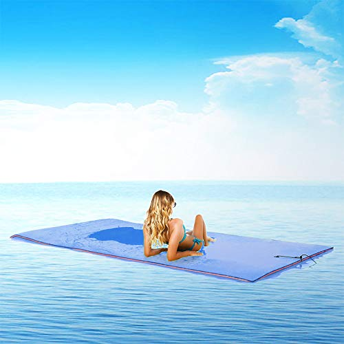 Superday Floating Water Mat Recreation Foam Pad Adults Kids Relax On Pool Lake&Ocean 9' x 6, Blue by Superday (Image #8)