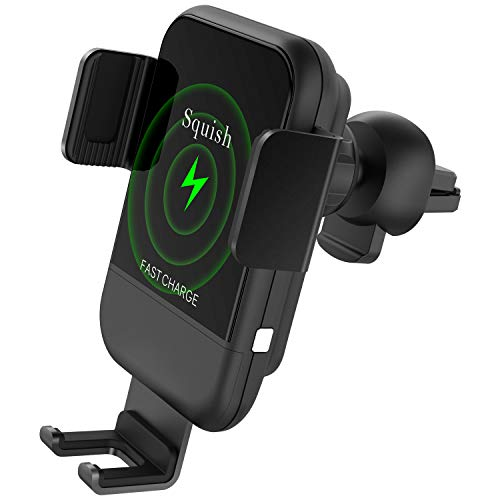 (Squish Wireless Car Charger Fast Wireless Charging Air Vent Car Phone Mount Charger Phone Holder for iPhone Xs Max/XS/XR/X/8Plus/8, Samsung S9/S9+/S8/S8+/Note9/Note8 & Other Smartphone)