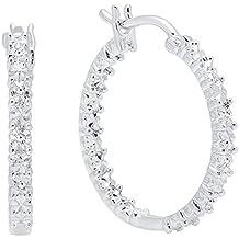 0.06 Carat (Ctw) Sterling Silver Round Cut White Diamond Ladies Huggies Hoop Earrings