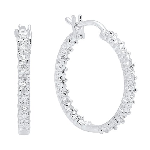 Dazzlingrock Collection 0.06 Carat (Ctw) Round Cut White Diamond Ladies Huggies Hoop Earrings, Sterling Silver ()