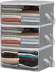 SimpleHouseware Clothes Storage Bags Organizer, Grey, (Set of 3)
