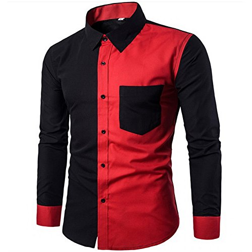 Autumn New Men's Solid Color Long-sleeved Jacket(Red) - 5