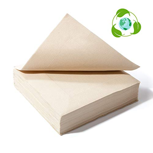 (Recycled Post Consumer Napkins, Compostable Biodegradable Unbleached Eco Lunch Napkins, 50 PCS Disposable Dinner Napkin)