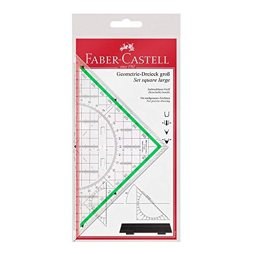 Faber-Castell 177090 – Transportador Y Escuadra (con Asa)