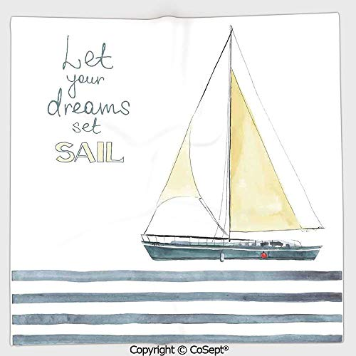 - AmaUncle Long-Lasting and Soft Square Towel,Let Your Dreams Set Sail Quote Stripes Yacht Interior Navigation Theme,for Men Women(9.84x9.84 inch),Light Blue White