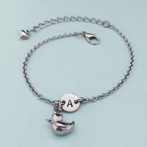 Rubber ducky charm bracelet, rubber ducky charm, adjustable bracelet, animal, personalized bracelet, initial bracelet, monogram